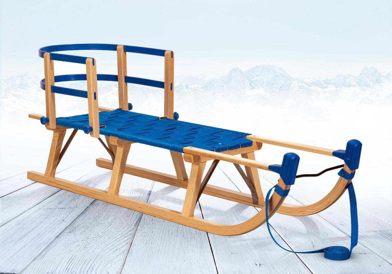 Rodelberg® Davos-Schlitten Gurtsitz Blau 115 cm, Zuggurt Blau,...