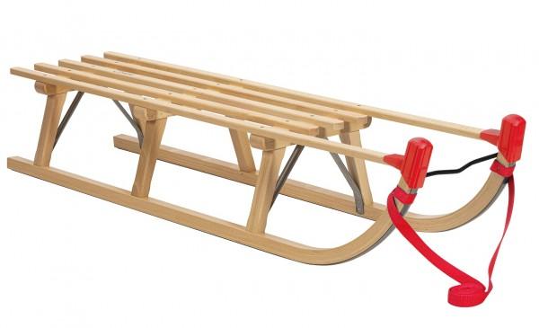 Rodelberg® Davos-Schlitten Holz 115 cm, Zuggurt Rot