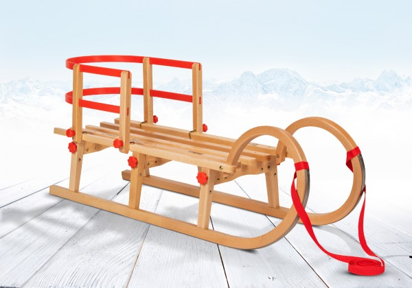 Rodelberg® Klappschlitten Tatry 105 cm, Zuggurt Rot, Lehne Rot