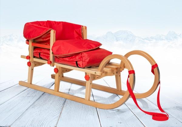 Rodelberg® Klappschlitten Tatry 105 cm, Zuggurt, Lehne, Fußsack Rot