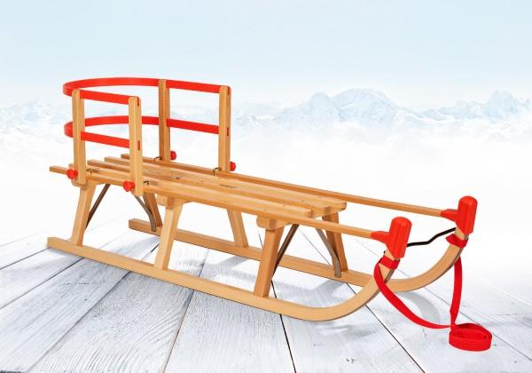 Rodelberg® Davos-Schlitten Holz 115 cm, Zuggurt Rot, Lehne Rot