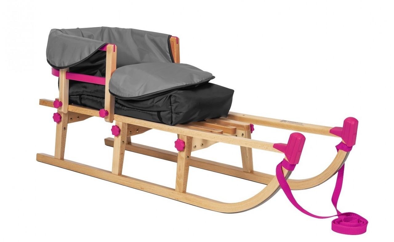 Rodelberg® Klappschlitten Yaro 115 cm, Zuggurt Pink, Lehne Pink,...