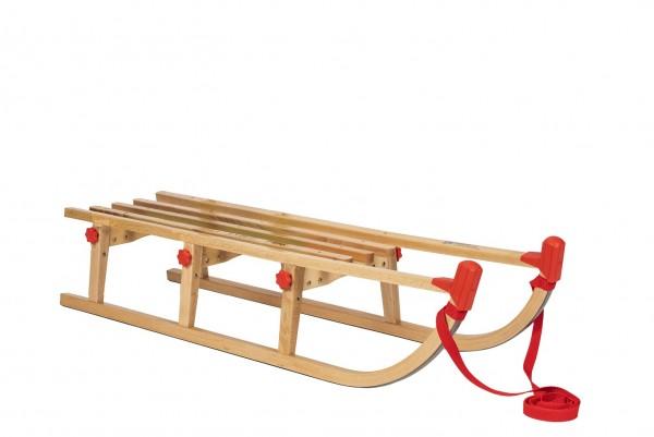 Rodelberg® Klappschlitten Yaro 115 cm, Zuggurt Rot