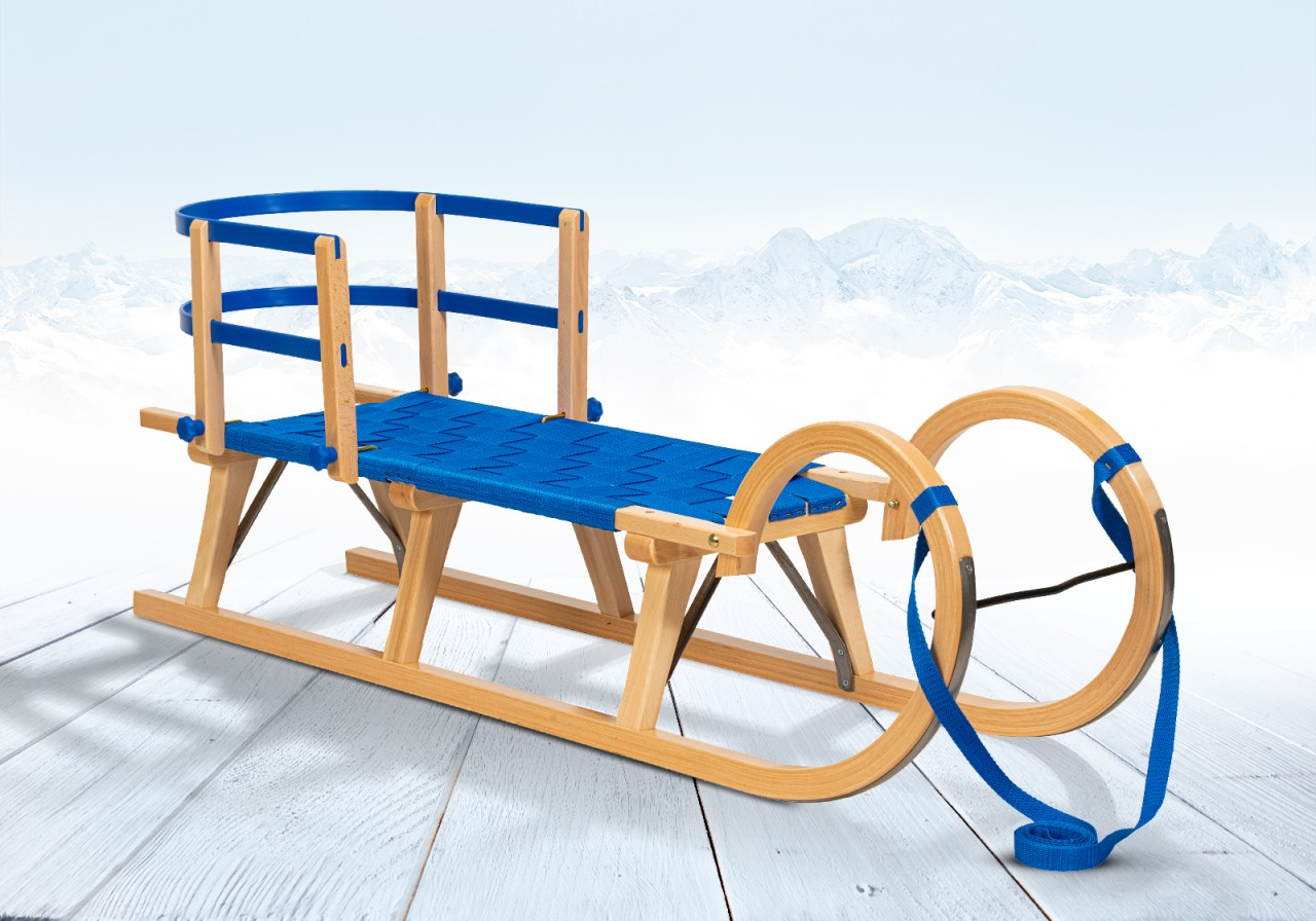 """Rodelberg® Hörner-Schlitten Gurtsitz Blau 105 cm, Zuggurt, Lehne"""""""""""