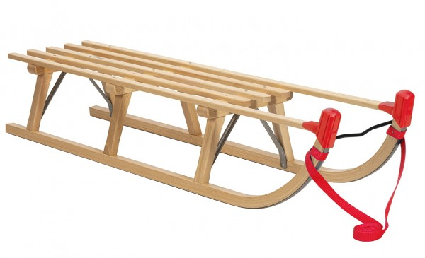 Rodelberg® Davos-Schlitten Holz 125 cm, Zuggurt Rot