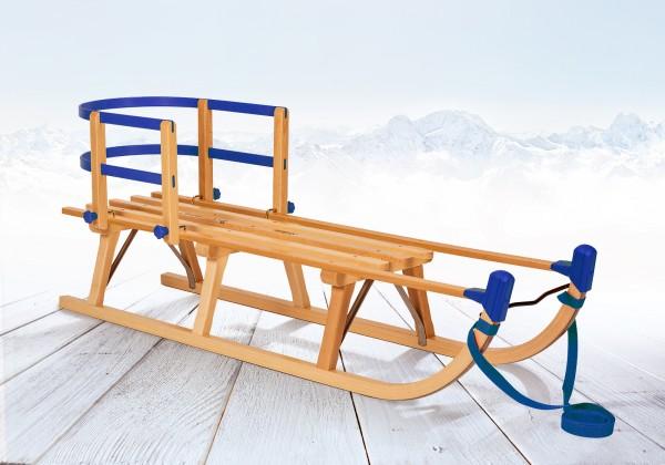 Rodelberg® Davos-Schlitten Holz 115 cm, Zuggurt Blau, Lehne Blau