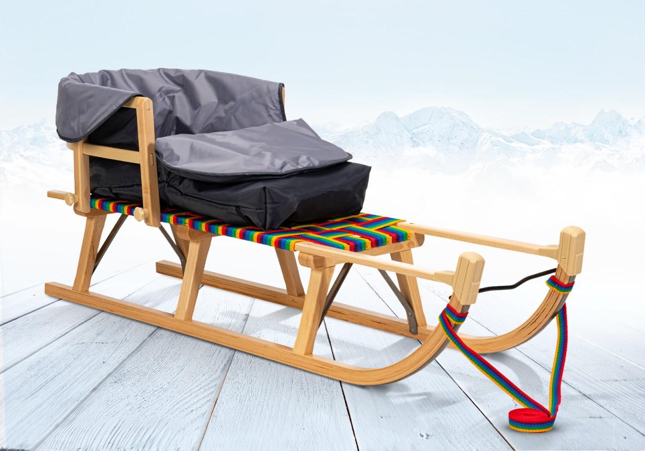 Rodelberg® Davos-Schlitten Gurtsitz Bunt 125 cm, Zuggurt, Lehne,...