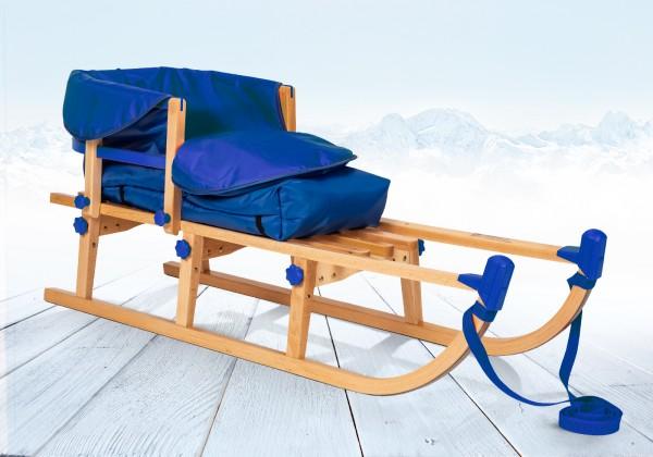 Rodelberg® Klappschlitten Yaro 95 cm, Zuggurt, Lehne, Fußsack Blau