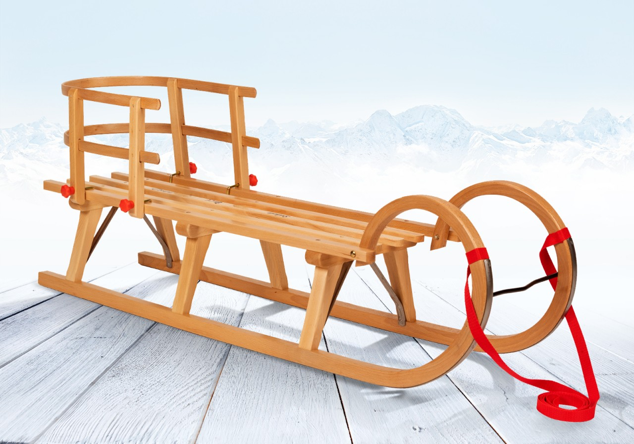 "Rodelberg® Hörner-Schlitten Holz 105 cm, Zuggurt Rot, Lehne Rot"""""