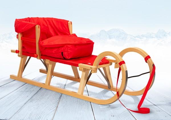 Rodelberg® Hörner-Schlitten Gurtsitz 115 cm, Zuggurt, Lehne, Fußsack Rot
