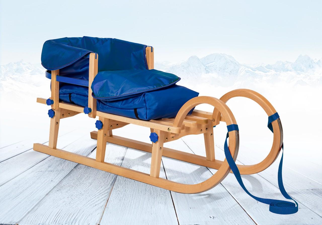 """Rodelberg® Klappschlitten Tatry 115 cm, Zuggurt, Lehne, Fußsack Blau"""""""""""