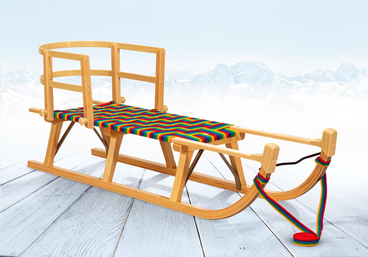 """Rodelberg® Davos-Schlitten Gurtsitz Bunt 95 cm, Zuggurt, Lehne"""""""""""