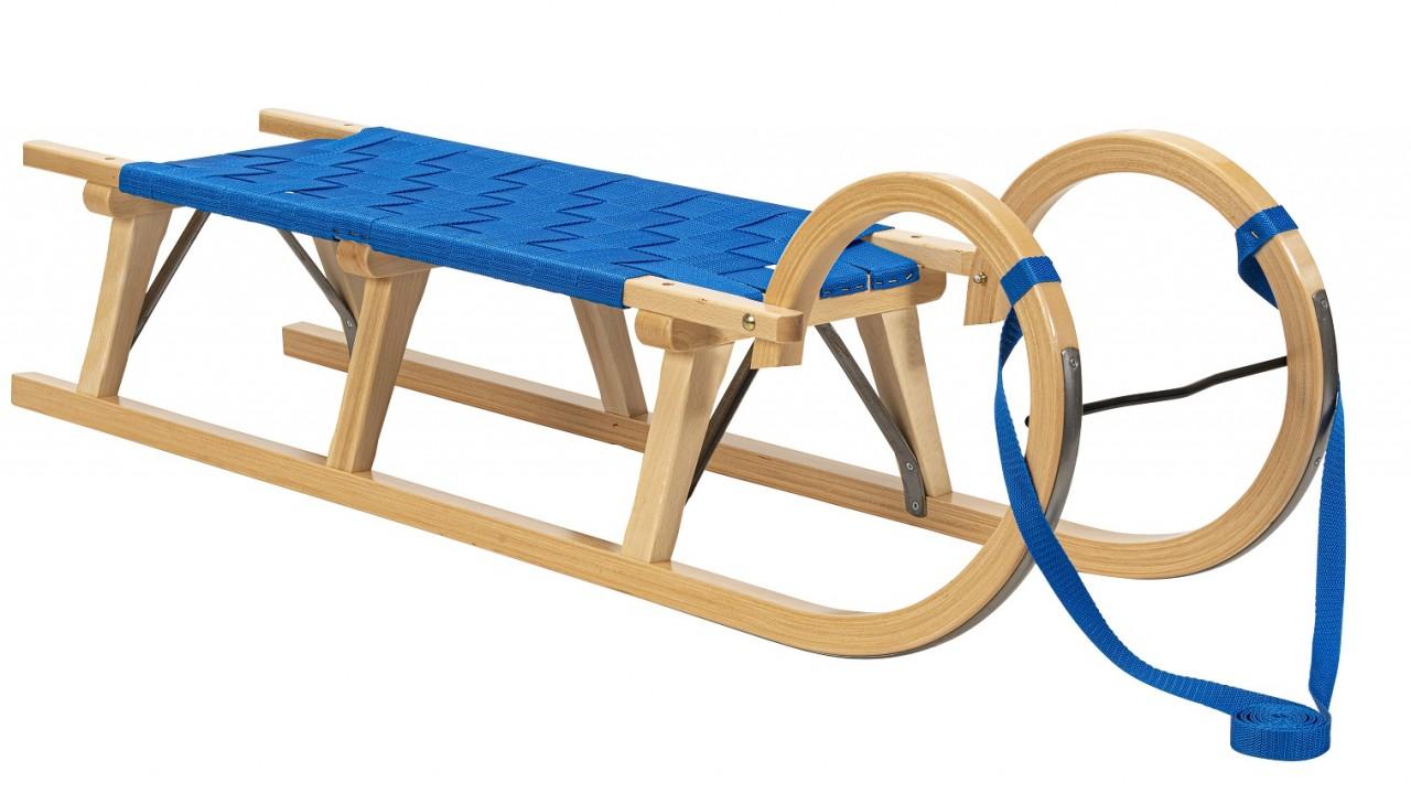 """Rodelberg® Hörner-Schlitten Gurtsitz Blau 125 cm, Zuggurt Blau"""""""""""