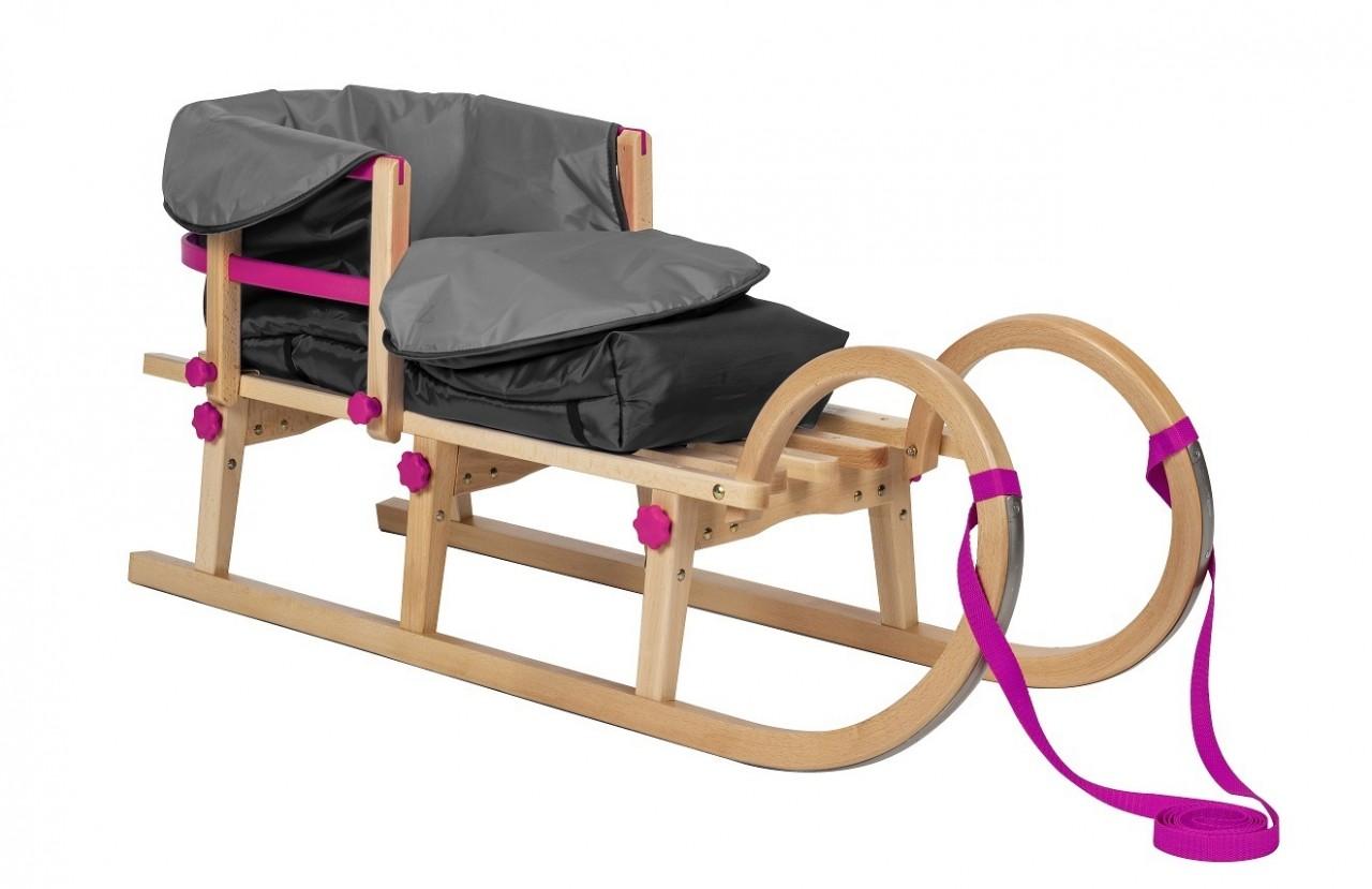 Rodelberg® Klappschlitten Tatry 95 cm, Zuggurt Pink, Lehne Pink,...