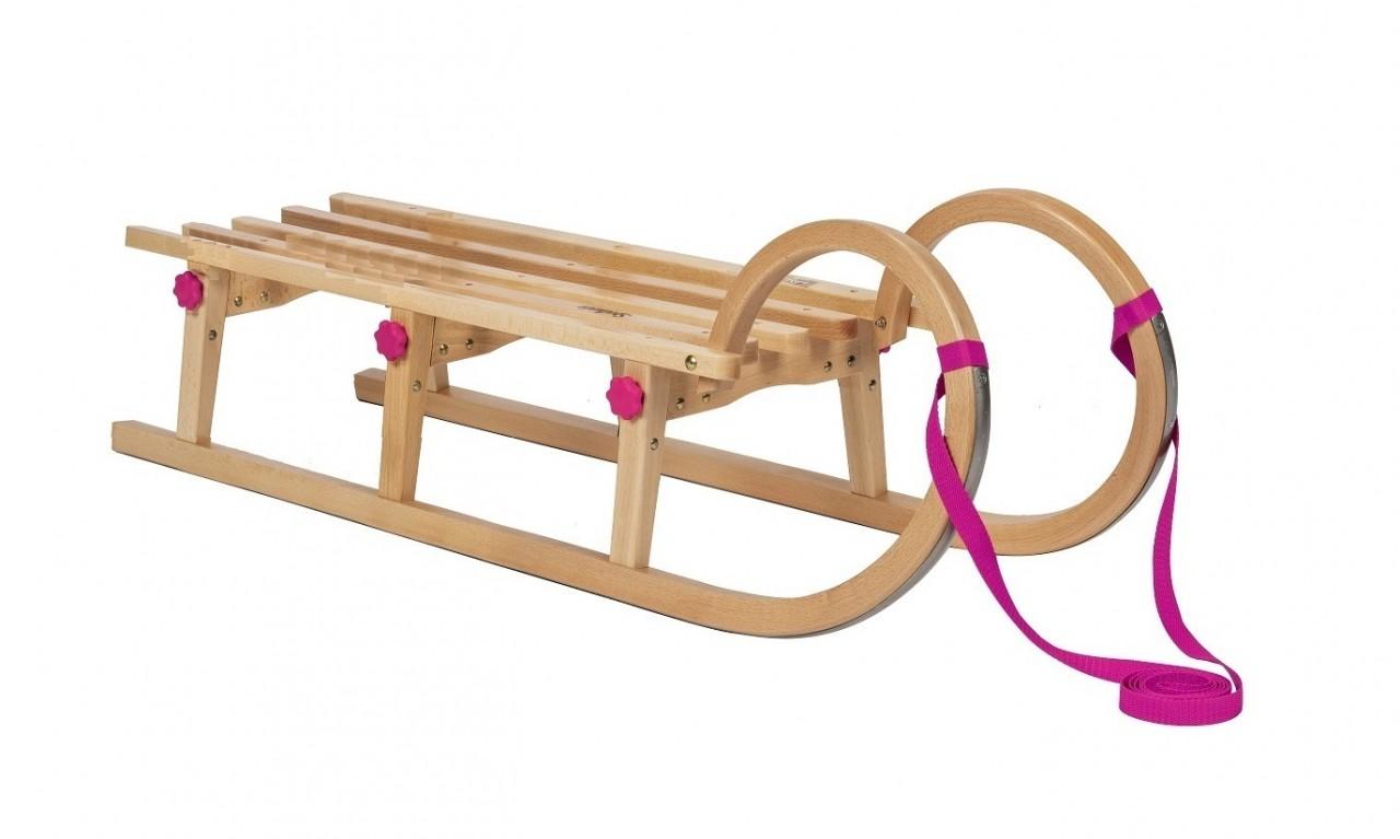"Rodelberg® Klappschlitten Tatry 115 cm, Zuggurt Pink"""""