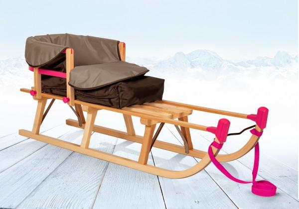 Rodelberg® Davos-Schlitten Holz 105 cm, Zuggurt, Lehne, Fußsack Grau