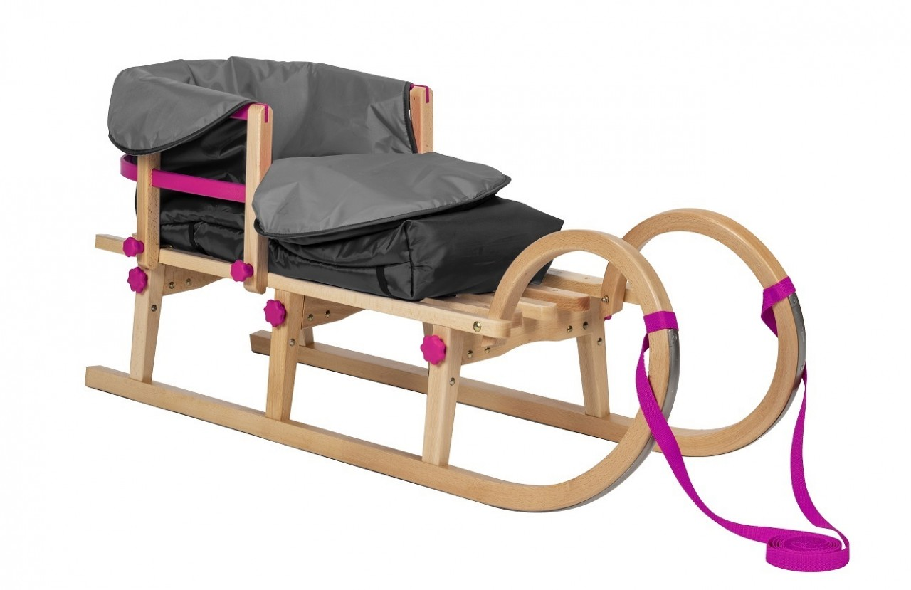 Rodelberg® Klappschlitten Tatry 105 cm, Zuggurt Pink, Lehne Pink,...