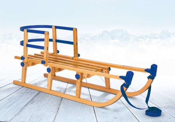 Rodelberg® Klappschlitten Yaro 95 cm, Zuggurt Blau, Lehne Blau