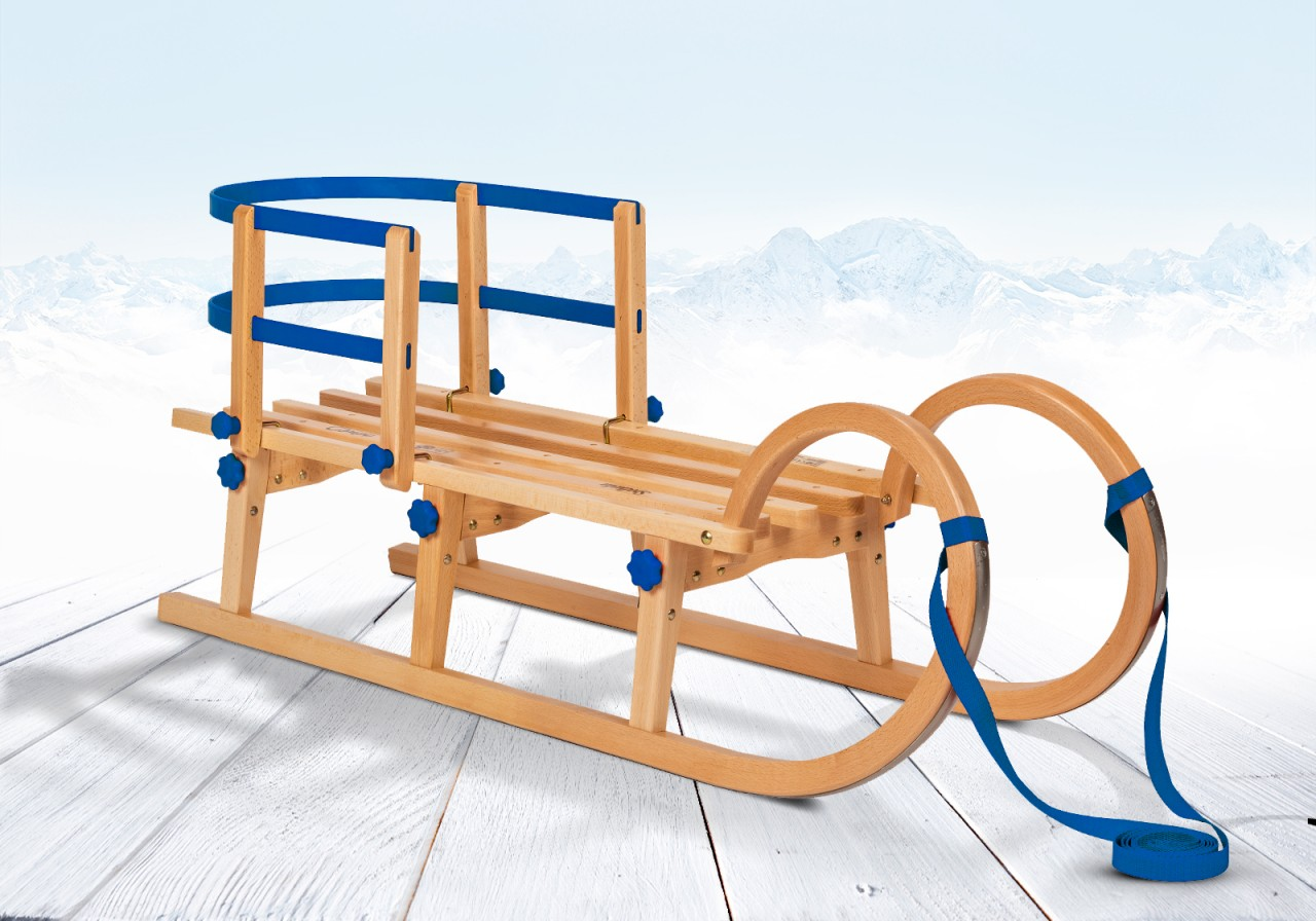 """Rodelberg® Klappschlitten Tatry 95 cm, Zuggurt Blau, Lehne Blau"""""""""""