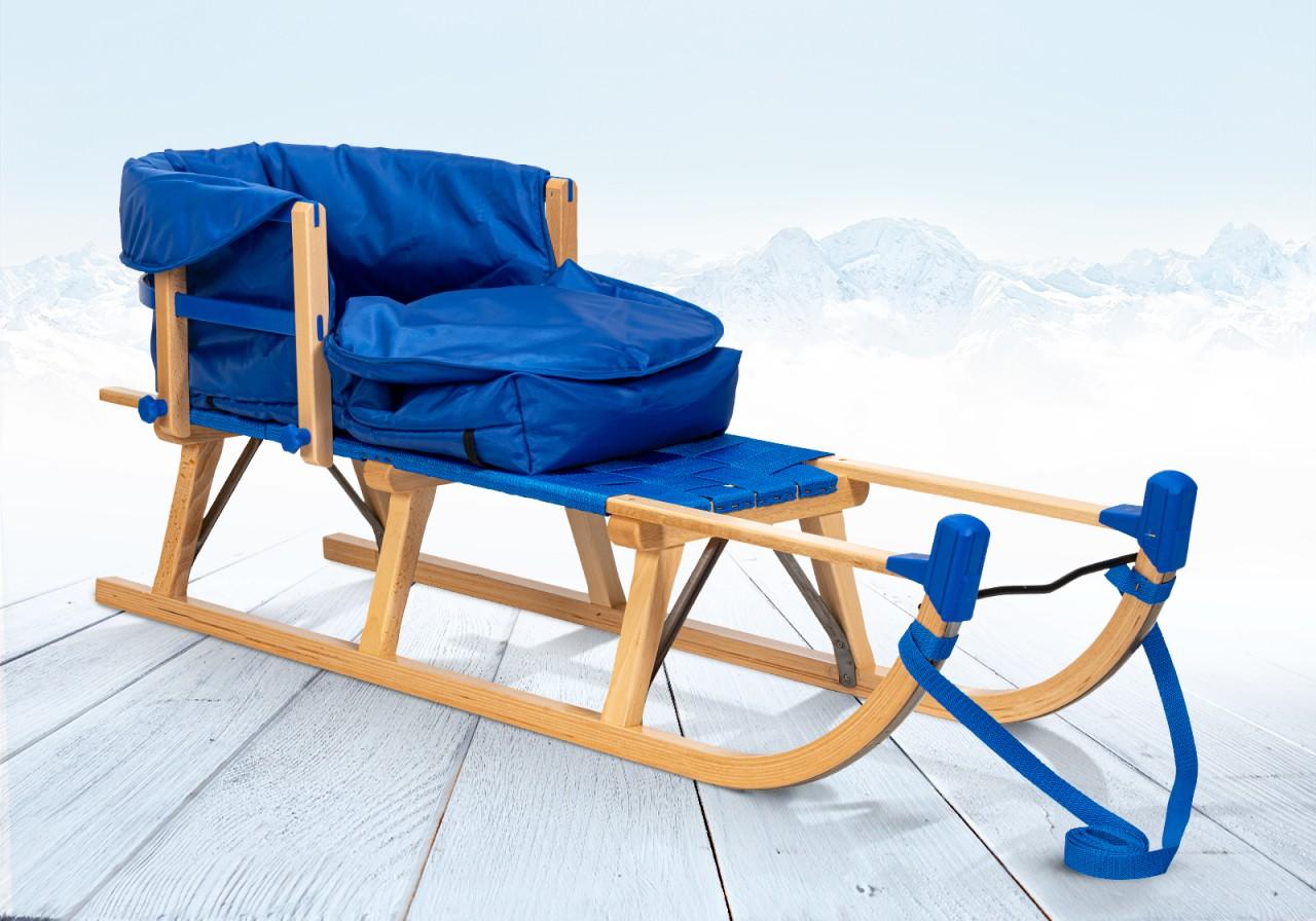 Rodelberg® Davos-Schlitten Gurtsitz 95 cm, Zuggurt, Lehne, Fußsack...