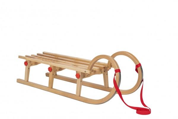 Rodelberg® Klappschlitten Tatry 105 cm, Zuggurt Rot