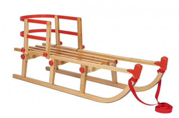 Rodelberg® Klappschlitten Yaro 95 cm, Zuggurt Rot, Lehne Rot