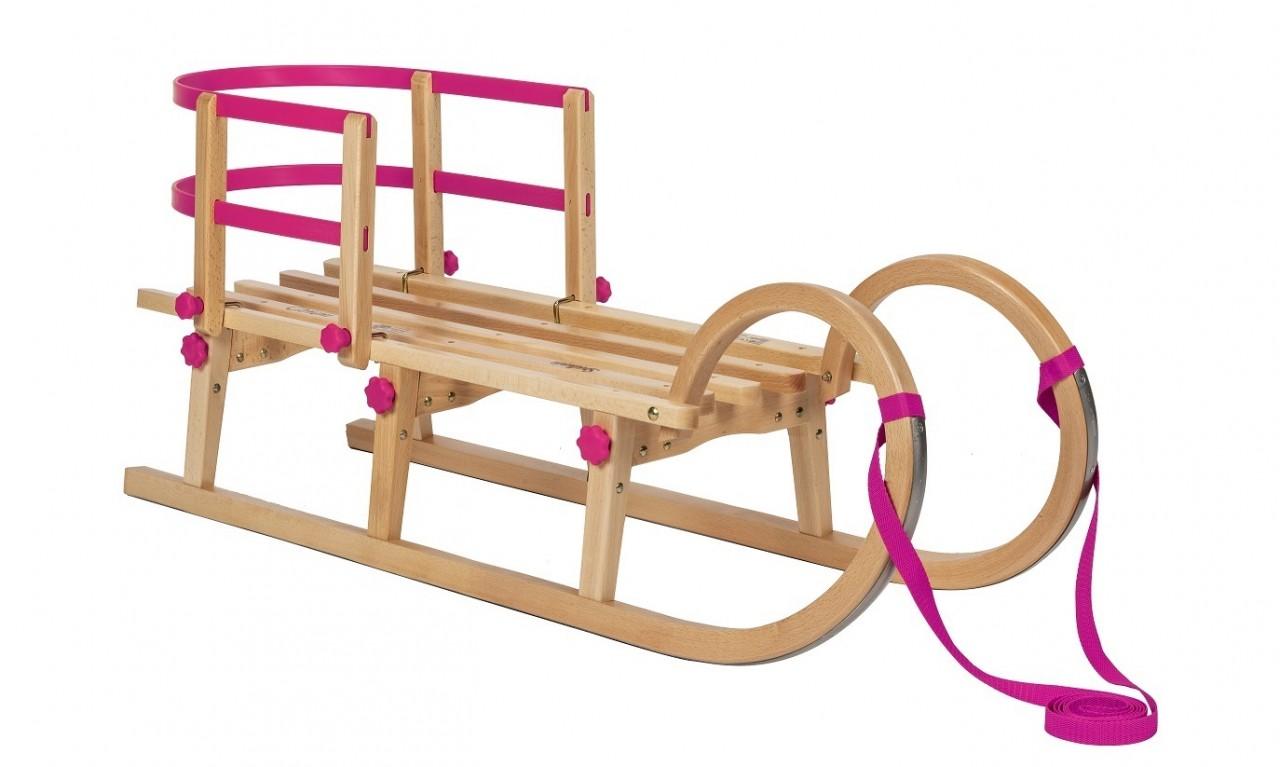 """Rodelberg® Klappschlitten Tatry 105 cm, Zuggurt Pink, Lehne Pink"""""""""""